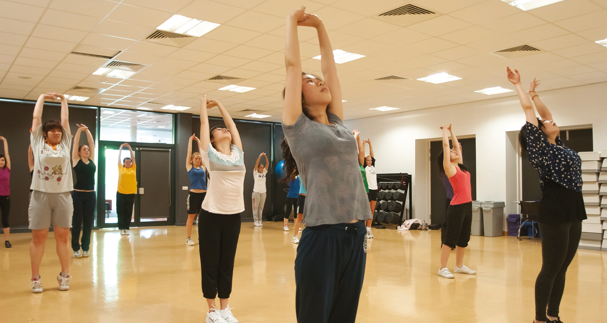image with students in a fitness studio