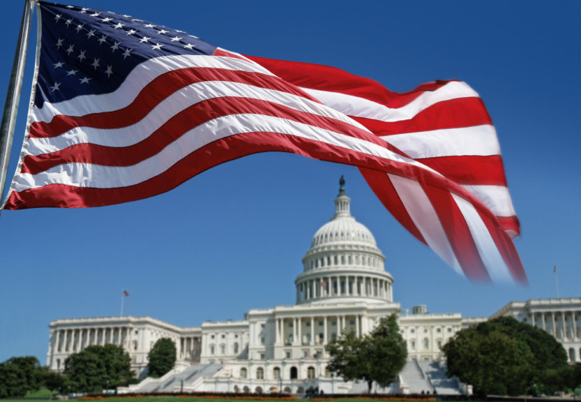 image of a the US Flag above the capital building