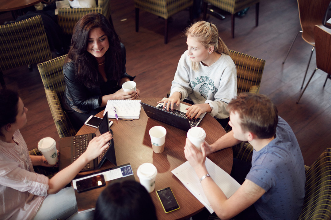 Students sat around computers