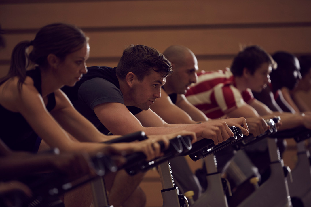 Students at a spinning class in CitySpace