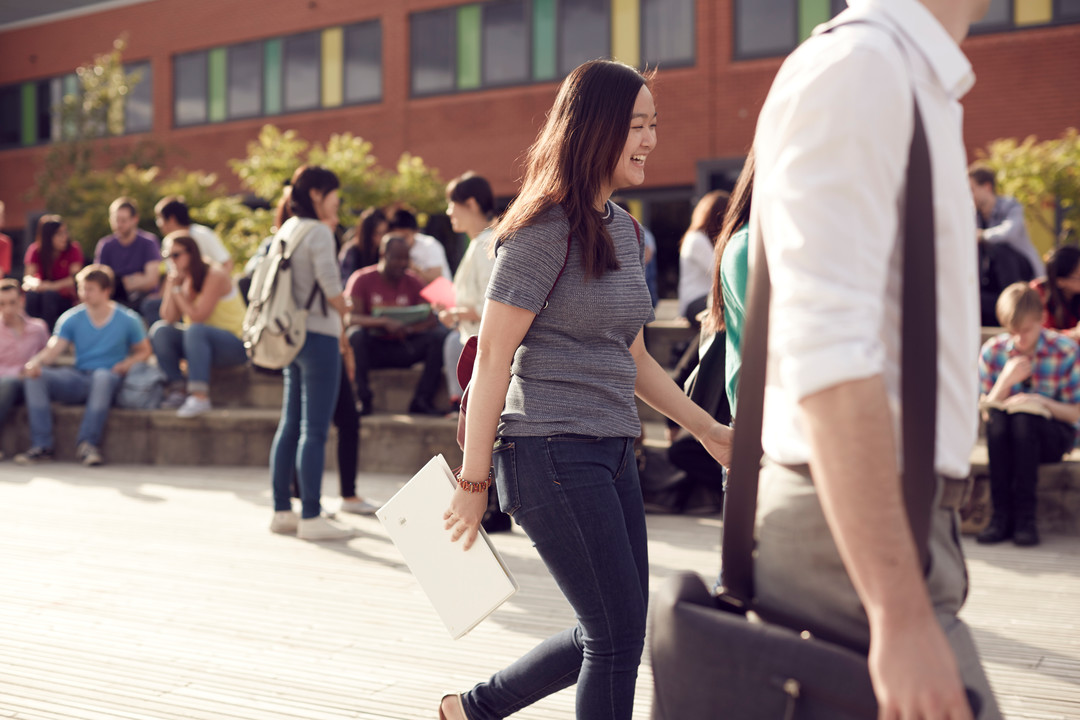 Students walking on City campus
