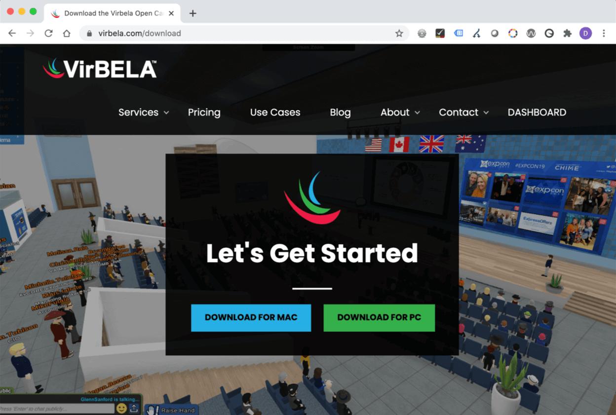 VirBELA Let's Get Started screen